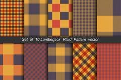 Комплект 10 предпосылок картины тартана вариантов безшовных Шотландка панели цвета осени иллюстрация вектора