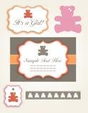 комплект приглашения девушки медведя младенца Стоковые Изображения RF