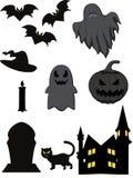 Комплект призрака хеллоуина шаржа иллюстрация штока