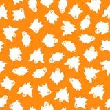 Комплект призраков хеллоуина на оранжевой предпосылке иллюстрация вектора