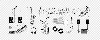 Комплект - примечания, музыкальные инструменты, звук иллюстрация штока
