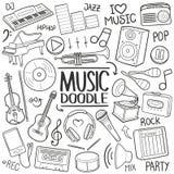 Комплект притяжки руки значка doodle инструментов музыки традиционный иллюстрация штока