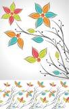 Комплект причудливых цветка и граници Стоковое Фото