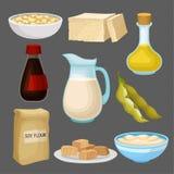 Комплект продуктов питания сои, молоко, масло, соус, тофу, фасоль, мука, здоровое питание, органическая вегетарианская иллюстраци иллюстрация штока