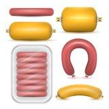 Комплект продуктов сосиски изолированный Стоковые Изображения RF