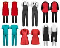Комплект прозодежд с работником и медицинскими одеждами Стоковые Изображения