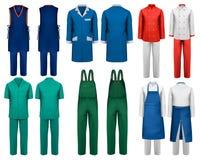 Комплект прозодежд с работником и медицинскими одеждами Стоковое Изображение