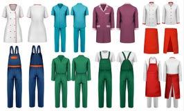 Комплект прозодежд с работником и медицинскими одеждами Стоковые Фото