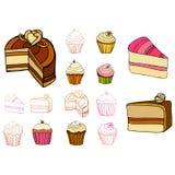 комплект проиллюстрированный тортами Стоковое Изображение RF