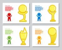 Комплект простого infographics от стилизованной диаграммы чашки трофея человека и золота Для дизайна представления, годовой отчет Стоковое фото RF