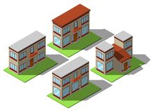 Комплект простых равновеликих домов Стоковые Изображения