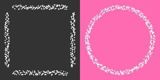 Комплект прямоугольных и круглых белых границ сделанных много белых кругов вокруг на серой и розовой предпосылке иллюстрация вектора