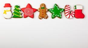 Комплект пряника рождества на белой предпосылке стоковая фотография