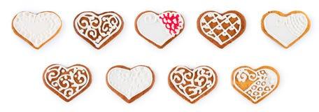 Комплект пряника рождества - сладостных печений в форме сердца Стоковые Фото
