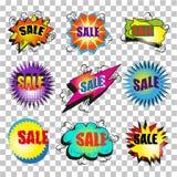 Комплект пузыря речи продажи искусства шипучки вектора винтажный Стоковая Фотография RF