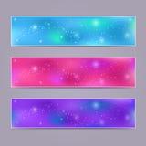 Комплект пурпуровых запачканных знамен Стоковая Фотография