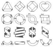 Комплект пустых эмблем, лент Конструируйте элементы для логотипа, значка, знака Стоковое Изображение RF