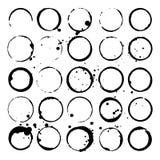 Комплект пятен вина или кофе Пятна и splatters черные силуэты также вектор иллюстрации притяжки corel Стоковое Фото
