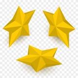 Комплект равновеликих золотых звезд лавр граници покидает вектор шаблона тесемок дуба Стоковое Изображение