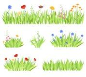Комплект различного естественного сада цветет в траве Свежие цветники сада на белой предпосылке также вектор иллюстрации притяжки иллюстрация вектора