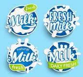 Комплект различного логотипа парного молока Стоковое Изображение