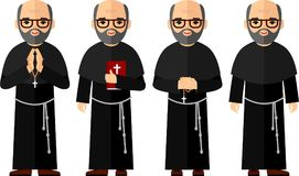 Комплект различное религиозные человеки, священник и монашка в красочном плоском стиле Стоковое Фото