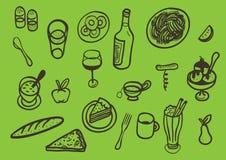 комплект различной еды иконический Стоковые Фотографии RF