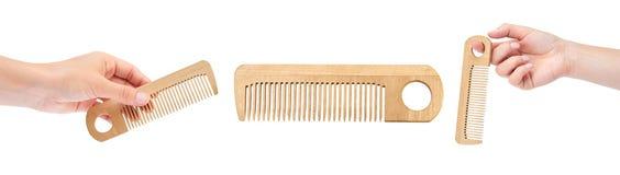 комплект различной щетки волос с рукой, изолированный на белой предпосылке Стоковая Фотография