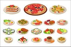 Комплект различных блюд на плитах Вкусная еда Традиционный обед европейца завтрака Плоский дизайн вектора для плаката promo иллюстрация штока