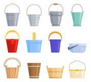 Комплект различных ведер утюга, пластичных и деревянных различных форм также вектор иллюстрации притяжки corel бесплатная иллюстрация