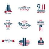 Комплект различных графиков, карточек и знамен, эмблем, символов, значков и значков дня патриота иллюстрация вектора