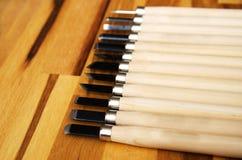 комплект различных инструментов для резать изделия из древесины Стоковые Фото