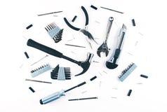 Комплект различных инструментов на белой предпосылке Стоковые Изображения