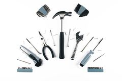 Комплект различных инструментов на белой предпосылке Стоковое Фото