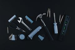 Комплект различных инструментов на белой предпосылке Стоковое Изображение RF