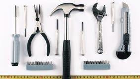 Комплект различных инструментов на белой предпосылке Стоковые Фото