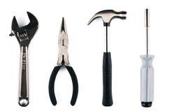 Комплект различных инструментов на белой предпосылке Стоковые Изображения RF