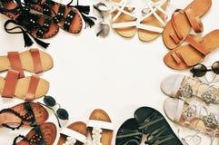 Комплект различных кожаных сандалий Стоковое фото RF