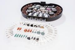 Комплект различных меля и режа аксессуаров для мини машины сверла Стоковые Изображения