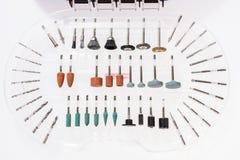 Комплект различных меля и режа аксессуаров для мини машины сверла Стоковая Фотография RF