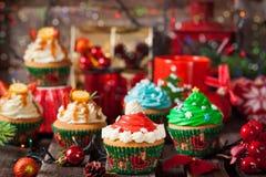 Комплект различных очень вкусных пирожных рождества стоковое изображение