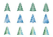 Комплект различных рождественских елок иллюстрация вектора