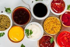 Комплект различных соусов Стоковые Изображения RF