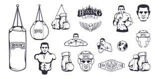 Комплект различных элементов для дизайна коробки - шлема бокса, груши, перчаток бокса, пояса бокса, человека боксера бесплатная иллюстрация