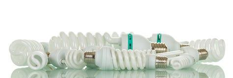 Комплект разнообразных экономических изолированных ламп диода на белизне Стоковое Изображение RF