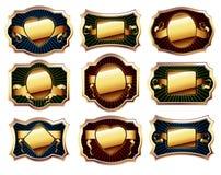 комплект рамки золотистый иллюстрация вектора