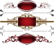 комплект рамки burgundy иллюстрация вектора