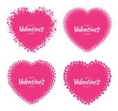 Комплект рамок силуэта сердца влюбленности от розовой картины сердец изолированной на белой предпосылке Дизайн карточки дня вален Стоковые Фотографии RF