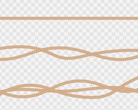 Комплект реалистических веревочек или строк, прямо и переплетенный естественно иллюстрация штока