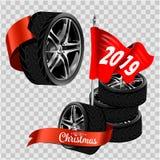 Комплект реалистических изолированных колес автомобиля с различным дизайном профиля оправы и вид спереди Комплекты 4 колес на tra бесплатная иллюстрация